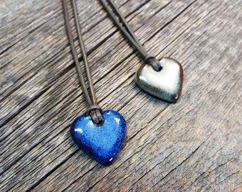 Ceramic pendant – Heart pottery necklace jewel