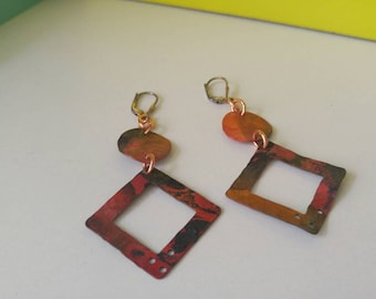 Marina, sterling and copper earrings