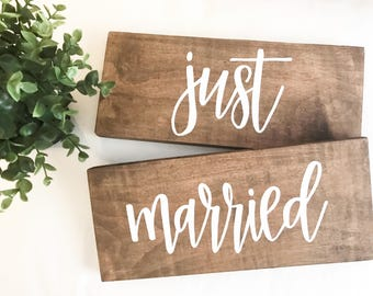 just married - his and hers - wedding sign - wedding decor - rustic wedding - rustic wedding decor