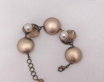 Gold Pearl Goldtone Vintage Earring Bracelet