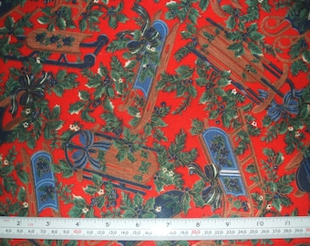 Christmas Sleighs on Red Cotton Table Cloth Fabric x one metre