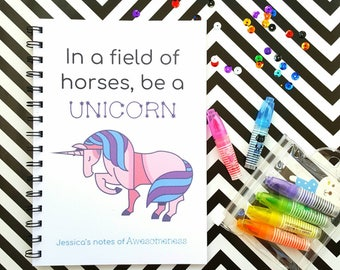 Personalised Unicorn Notebook - rainbow sparkle back cover, motivational quote A5 notebook