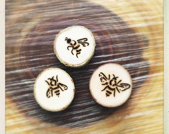 Made to order wood burned bee button set of 3