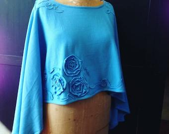 Lagenlook Poncho Sky Blue Merino Wool Flowy Roses