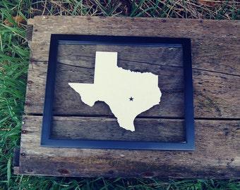 TEXAS STAR 11x14 Map Gift * Custom Framed Handmade Canvas Art * State & City * Moving Birthday Wedding Anniversary Graduation Engagement
