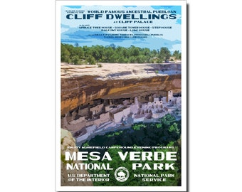 "Mesa Verde National Park Poster, WPA style 13"" x 19"" Signed by the artist. FREE SHIPPING!"