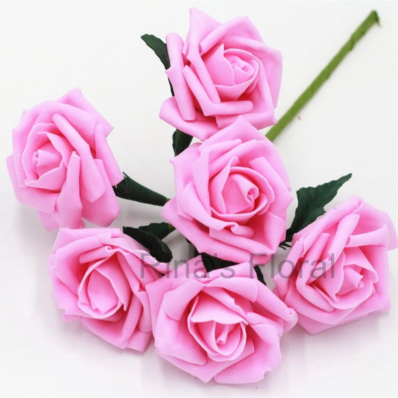 Pink artificial flower supplies bright pink rose flower for mightylinksfo