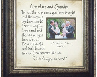 Grandmother Grandfather Gift, Personalized Wedding Frame Gift, Wedding Gift for Grandparents, Grandparents Wedding Thank You Gift, 16x16