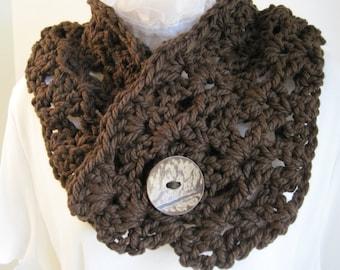 "Crochet Cowl, Dark Brown acrylic yarn w/large button, 34"" x 7"""