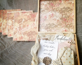 Bridesmaids Proposal Box Contents, Wedding Party gift, Asking the Maids box, Instant download, customizable, rustic chic.