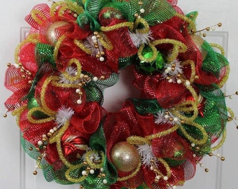 Classic Red and Green Christmas Wreath, Red and Green mesh with glittered accents, Red and Green Deco Mesh Wreath
