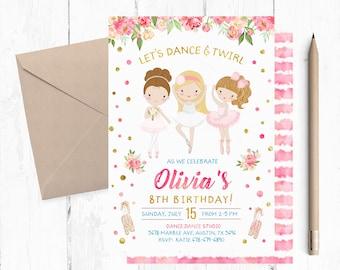 Ballerina invites etsy ballerina birthday invitation ballerina invitation ballerina invitations dance birthday party invitation ballerina filmwisefo