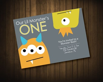 Monster First Birthday Party Invitations
