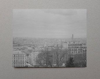 View From Sacré-Cœur - Gray Art Print, Black and White Photography, Monochromatic, France, World Traveler Gift, Fine Art Photography, Paris