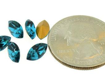 Swarovski Crystal Art 4200/2 Navette Table Cut Rhinestones 10x5mm Blue Zircon Blue Green Teal Pointed Back Lot of 6 Pieces