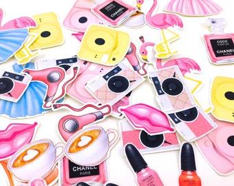 Planner Stickers or Paper Cut Outs - 32pk Girly Pink stickers Planner Makeup Perfume Stickers, Die cut embellishments KikkiK Filofax Planner