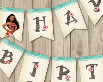 MOANA BIRTHDAY BANNER, Printable Moana Banner Happy Birthday, Moana Birthday Decoration, Moana Invitation (sold separate)