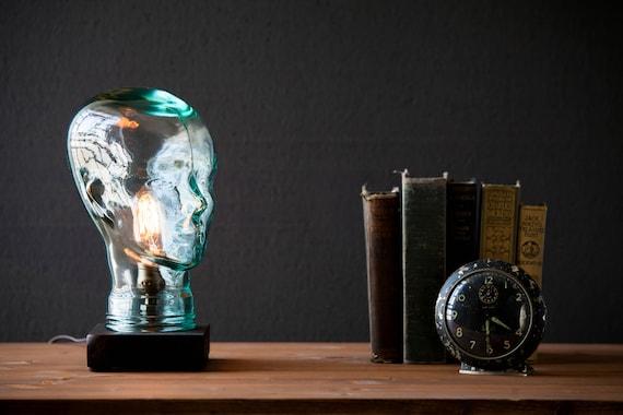 Glass head Lamp - Steampunk Lamp - Table Lamp - Edison Light - Vintage Light - Pipe Lamp - Bedside Lamp - Rustic Lighting - Loft light