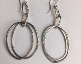 Sterling Silver Hoop Earrings Oval Dangle Earrings