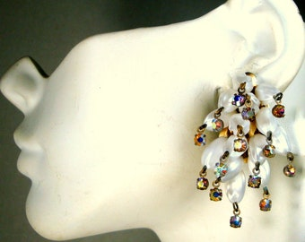 TRASHY White Fringed Clip Earrings, w Aurora Borealis Rainbow Ends Clustered Dangles 1960s Hollywood Glam Glittery Night Sky