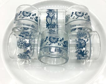 Vintage Pyrex Napkin Rings, Old Town Pattern, Blue on Clear Glass, Set of 6