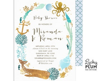 Whale baby shower invitation ocean baby shower invitation ocean baby shower invitation couples coed baby shower invitation whale baby shower invitation nautical under the sea twins wh01 filmwisefo