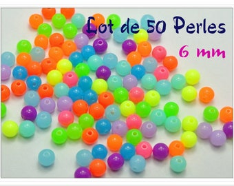 Set of 50 6 mm acrylic beads bright Flashy colors