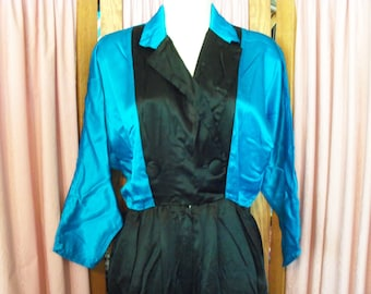 Size 3-4 DQ Fashions Vintage Black & Teal Satiny Jumpsuit Made in USA