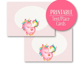 Unicorn tent Cards | Party Buffet cards | Printable Place Cards | Pink Pony Party | Birthday Decor  1602