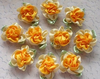 10 Handmade Flowers With Leaves (1 inch, With leaf size 1-1/4)  Orange, Yellow MY - 035 - 09 Ready To Ship