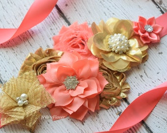 Gold coral Sash,#3  , flower Belt, maternity sash, wedding sash, flower girl sash, maternity sash belt