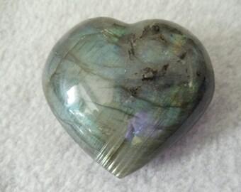 Labradorite Puffed Heart Labradorite Crystal Heart Stone Heart (CRYH-LA-XXL)
