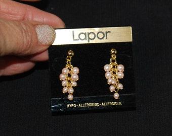 Pearl Dangle Cluster Earrings, Vintage Dangle Cluster Earrings, Hypo-Allergenic, Gift For Women,  Drop Earrings, Vintage Jewellery