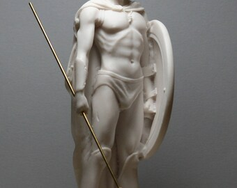 Spartan King LEONIDAS Shield & Spear Alabaster Statue Sculpture figurine 9.45in - 24cm **Free Shipping - Free tracking Number**