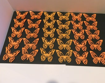 Butterfly Die Cuts 30 Large Orange butterflies embellishments scrapbook cardmaking supplies cupcake toppers Wedding Baby shower Confetti