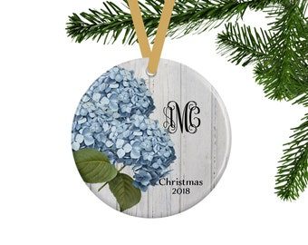 Floral Christmas Ornament, Personalized Gift for Gardener, Hydrangea Flower Lover Gift, Monogrammed Gift for Her, Farmhouse Christmas Decor