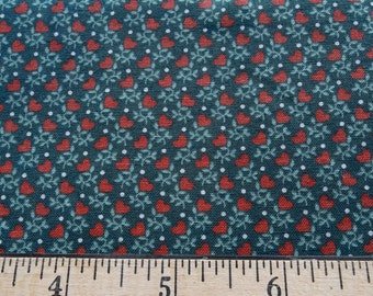nos vintage fabric in hunter green, mint green, and dark coral hearts print