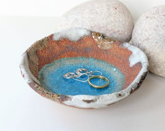 Large 11cm Blue Glass Pool - Ceramic, Pottery, Stoneware, trinket dishes, rings earings jewellery bowl bowls UK