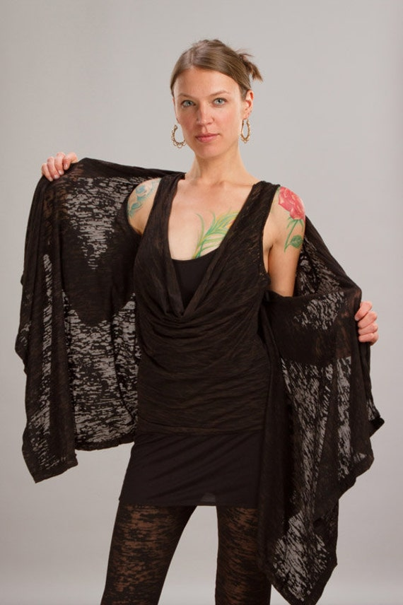 Spring Sale! Calico Asymmetrical Women's Jacket in Black for Womens Boho Chic Fashion