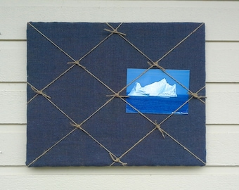 Burlap and Twine Pin Board with nautical knots, useful for memos, or wedding card display, natural decor for your cottage or cabin