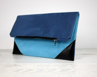 Navy Blue Fold Over Clutch Purse