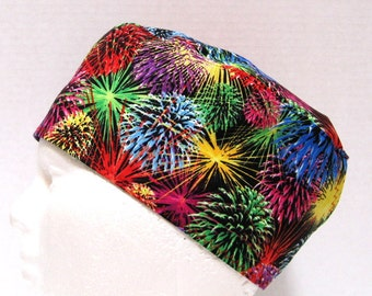 Mens Scrub Cap or Surgical Cap, Fireworks on Black