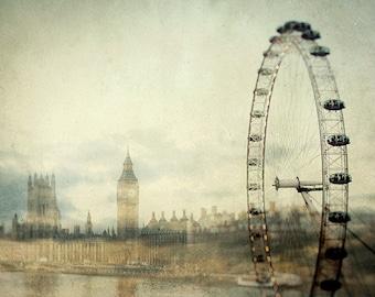 "London Skyline, London Print, Travel Poster, Wanderlust, London Eye, Big Ben, Westminster, Fine Art Print ""Double Fantasy"""