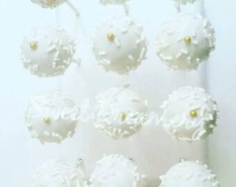 Winter white cake pops