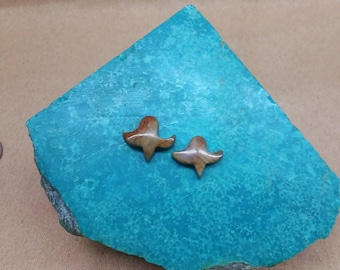 Picasso Marble Small Flower Cabochon Pair/ backed/