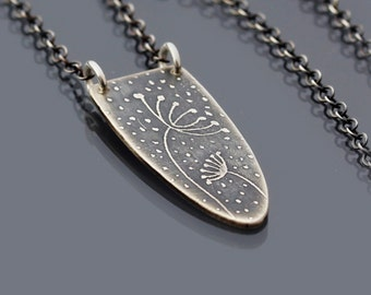 Sterling Silver Sheltering Blossoms Necklace - Etched Silver Queen Anne's Lace Pendant