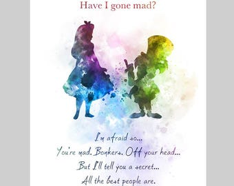 Alice in Wonderland Mad Hatter Quote ART PRINT illustration, Wall Art, Home Decor, Nursery