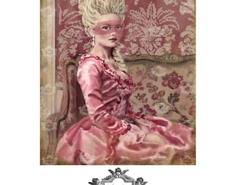 Let me tell you a secret, a WickedlyLovely, Marie Antoinette inspired, blank original art greeting card
