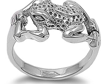 Women Sterling Silver Frog Ring 13mm / Free Gift Box(SNRP140069)