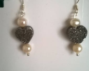 Sterling silver druzy and pearl earrings
